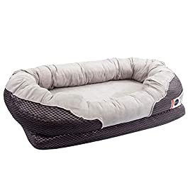 BarksBar Gray Orthopedic Dog Bed – Snuggly Sleeper – with Solid Orthopedic Foam, Extra Comfy Cotton-Padded Rim Cushion and Nonslip Bottom