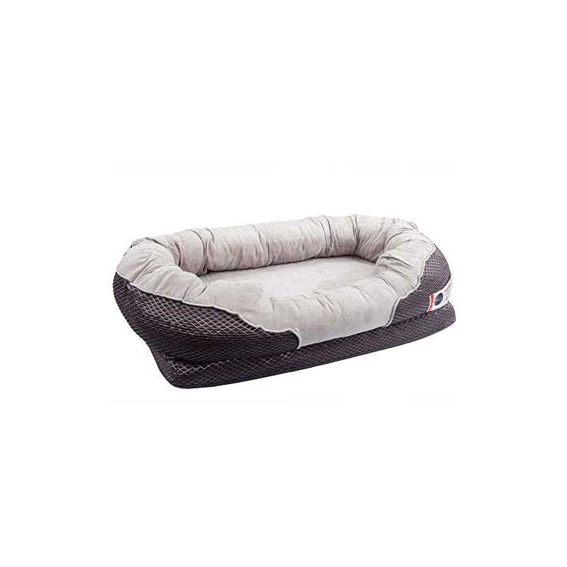 dog supplies online barksbar large gray orthopedic dog bed - 40 x 30 inches - snuggly sleeper with solid orthopedic foam, non-slip back