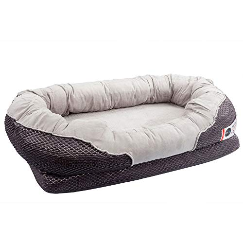 BarksBar Large Gray Orthopedic Dog Bed - 40 x 30 inches - Snuggly Sleeper with Solid Orthopedic Foam, Non-Slip Back ()