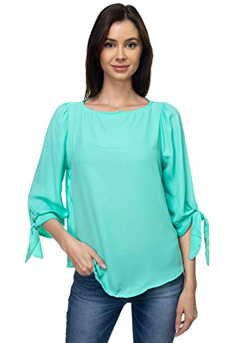 VIA Jay Women's Basic Casual Relaxed Loose 3/4 Sleeve Blouse Top (Mint, - Blouse Mint