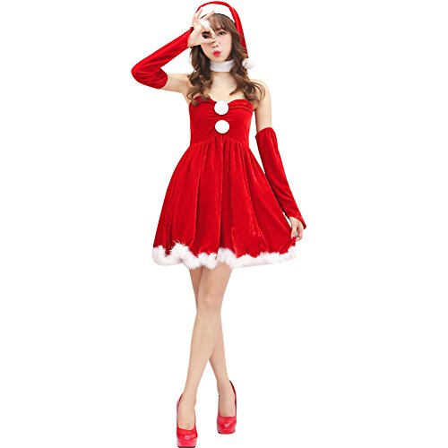 Jocolate(ジョコレート) サンタコス サンタワンピース サンタ コスプレ サンタクロース 衣装 サンタ クリスマス レディース ワンピース 女の子用 パーティー かわいい ワンピース 人気