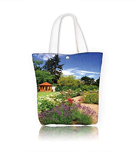 Canvas Beach Bags beautiful garden with blooming roses brick path and a small gazebo Totes for Women Zippered Beach Shoulder Bag W23xH14xD7 INCH ()