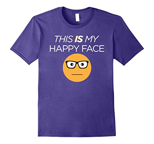 Mens THIS IS MY HAPPY FACE FUNNY tshirt 2XL Purple - Happy Face T-shirt