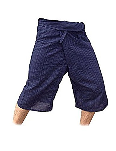 thai-fisherman-pants-yoga-trousers-free-size-3-4-cotton-stripe-dark-navy-blue