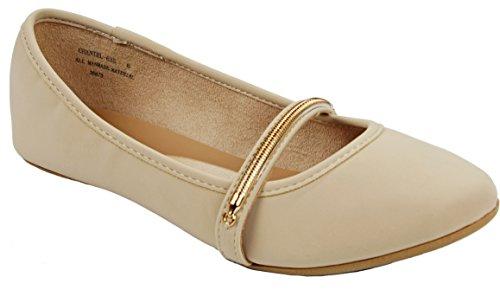 Larisa15 Gouden Rits Decor Loafer Ballet Platte Jurk Schoenen Nude_chantel