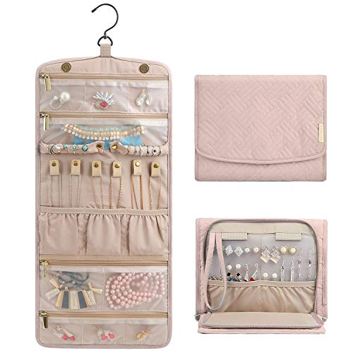 BAGSMART Travel Jewelry Organizer Roll Foldable Jewelry Case for Journey-Rings, Necklaces, Bracelets, Earrings, Soft Pink from BAGSMART
