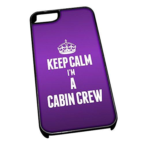 Cover per iPhone 5/5S, colore: nero 2541Viola Keep Calm I m a cabina