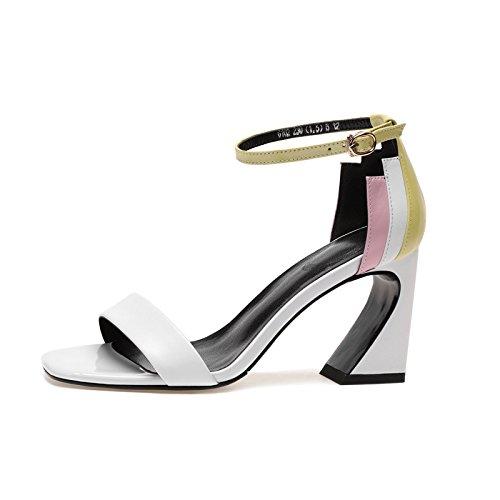 tacones altos y cuadrada elegante 36 Transpirable mujer nueve AJUNR Cabeza White de Zapatos Treinta Moda La 8cm Sandalias Talon Palabra gZSZqx6F