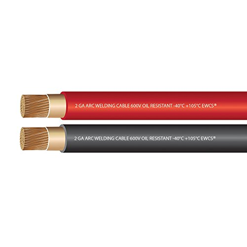 2 Gauge Premium Welding Cable Black + Red Combo Pack - 20 FT of Each