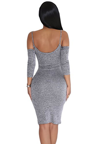 Señoras marga Gris Cold Shoulder Keyhole vestido Club Wear fiesta Casual talla L UK 12 UE 40