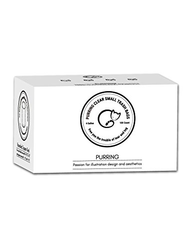 Purring Clear Small Trash Bags with Simple-illustration Aesthetic Drawing, 4 Gallon Garbage Bags with Quick-dispense, 100 Count ()