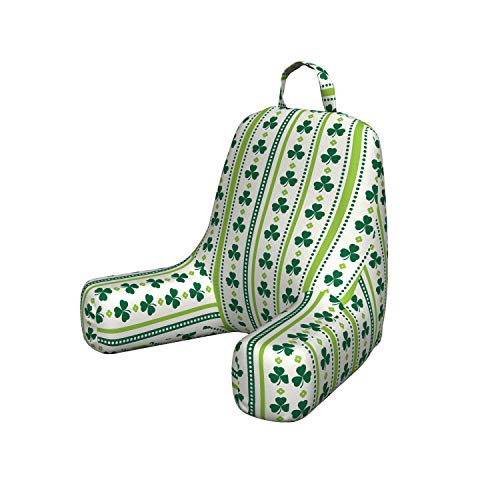 Ambesonne Floral Reading Pillow, Clovers Vertical Lines and Dots Irish Traditional Floral Pattern Comfortabe Bedrest Cushion with Back Pocket & Washable Cover, Small, Lime Green Dark Green White