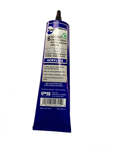 SCIGRIP 16 10315 Acrylic Cement, Low-VOC, Medium bodied, 5 Ounce Tube, Clear