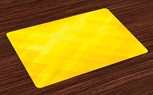 Ambesonne Yellow Place Mats Set of 4, Contemporary Art Inspirations in Yellow Toned Geometrical Rhombus Arrangement, Washable Fabric Placemats for Dining Table, Standard Size, Marigold Yellow