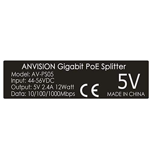 48V to 5V 2.4A ANVISION 2-Pack 5V PoE Splitter USB Type C IEEE 802.3af Compliant