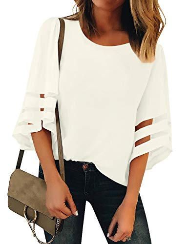 GRAPENT Women's Beige Casual 3/4 Bell Sleeve Blouse Crewneck Mesh Panel Loose Top Shirt Size XX-Large US ()