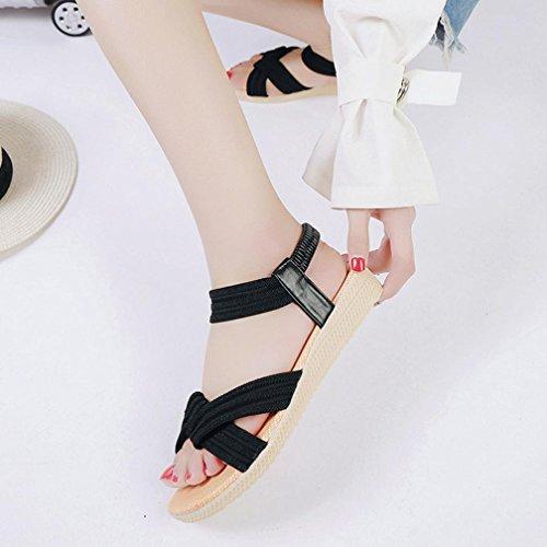 Plates Sandales Femme Boheme Angelof Fille Anti Sandales Ouvert Sandale Derapant Ado Bout Élastique Noir Chaussons Fermé Femmes twdxAdTnqv