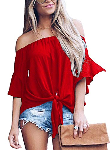 (LuckyMore Womens Striped Off Shoulder Bell Sleeve Shirt Tie Knot Summer Blouses Tops (L, A-Red) )