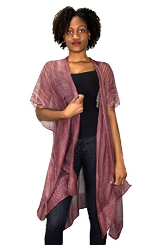 Peach Couture Laced Hem Sheer Beach Cover up Tunic Kimono Summer Cardigan Burgundy (Women Cover Beach Swimwear Couture)