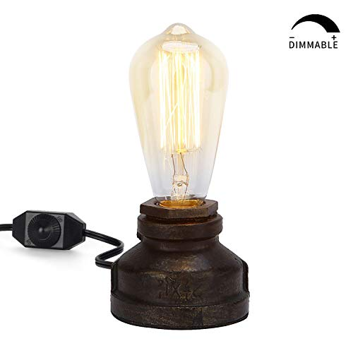 Steampunk Table Lamp with Dimmer Switch,Vintage Style Lamp Holder E26 Iron Lamp Base (Bulb not Included)