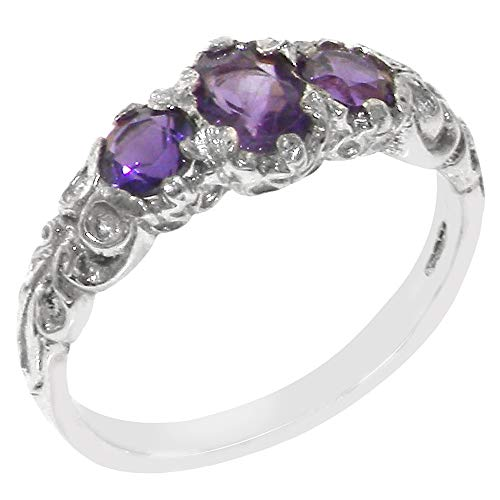 925 Sterling Silver Real Genuine Amethyst Womens Trilogy Engagement Ring - Size 6