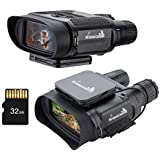 My Animal Command 1300 FT Infrared Binoculars Night Vision Goggles 7X Optical Zoom Photo/Video Recording External  Attachable Rechargeable Powerpack 32GB SD for Surveillance Hunting and Game Spotting