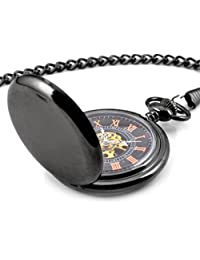 Infinite U Steampunk Smooth Hand Wind Mechanical Pocket Watch Hollow Skeleton Roman Numerals Steel Pendant Necklace Black