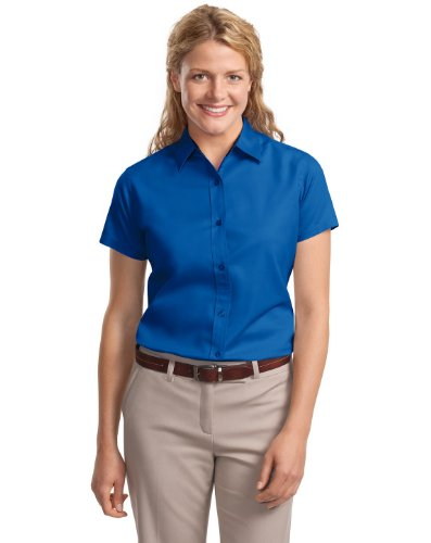 Port Authority Ladies Short Sleeve Easy Care Shirt>M Royal/Classic Navy L508