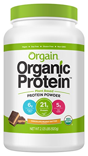Giant Chocolate Peanut - Orgain Organic Plant Based Protein Powder, Chocolate Peanut Butter - Vegan, Low Net Carbs, Non Dairy, Gluten Free, Lactose Free, No Sugar Added, Soy Free, Kosher, Non-GMO, 2.03 Pound
