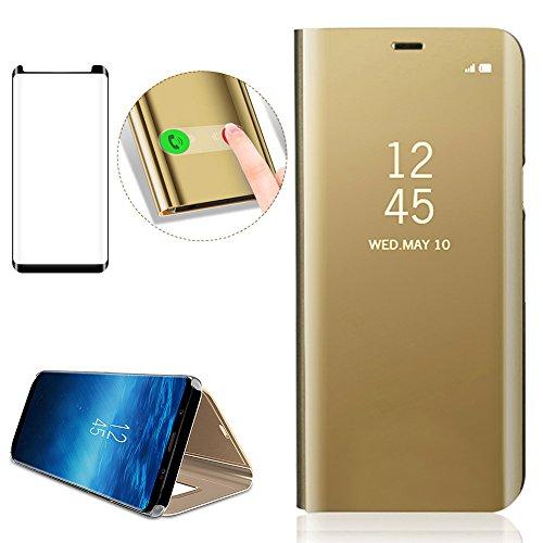 Inteligente Case Para Samsung Galaxy S9 Plus, Bonice Modelo inteligente Fecha Hora Ver Espejo Brillante tirón del caso duro el Funda del Teléfono Móvil Caja del Teléfono Folio Ultra Thin Full Body Fun A-Oro