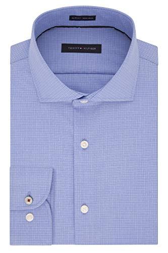 (Tommy Hilfiger Men's Dress Shirts Non Iron Slim Fit Check, New Cobalt, 17.5