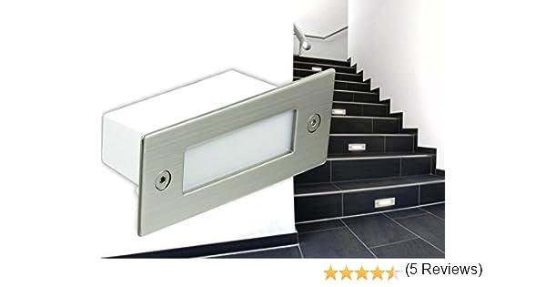 Luces de LED empotrable para pared, escaleras Etapa de lámpara, iluminación Piko A04 en acero inoxidable cepillado, 230 V IP de 54 de color blanco cálido [su Calidad ventaja: La luz gran