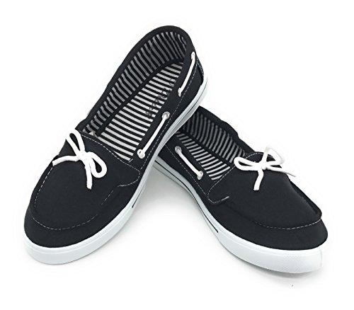 Blue Berry EASY21 Women Canvas Round Toe Slip on Flat Sneaker Oxford Boat Shoe,Black,Size 8