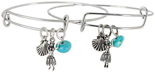 Bay Studio Hula Charm & Bead Bangle Bracelet Set Blue/Silver Tone Bay Studio Set Bracelet