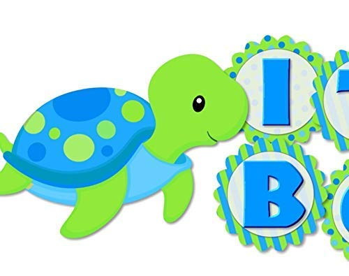 Personalzied Blue Green Turtle Birthday Party or Baby Shower Garland Bunting Banner ()