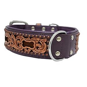 """Genuine leather dog collar. 24"""" x 1.5"""", Western tooled in purple/brown hair-on, inlay Argentinean cowhide. Angel Elite (San Antonio) Necks: 17.5""""-22"""""""