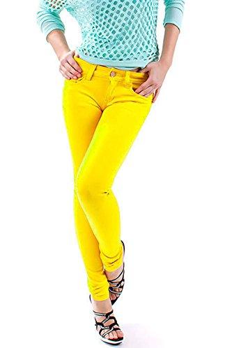 Jeggins para mujeres, ceñidos, elásticos, tallas 8a 26 amarillo