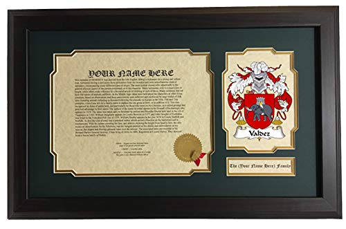 (Valdez - Coat of Arms and Last Name History, 14x22 Inches Matted and Framed)