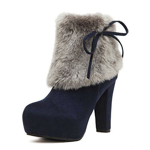 AdeeSu Womens Chunky Heels Platform Fur Collar VelvetLining Microsuede Boots SXC02655 Blue Fn3RZsW