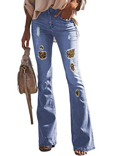 Sidefeel Women Leopard Patch Ripped Flare Jeans Mid Rise Fitted Denim Pants Medium Light Blue