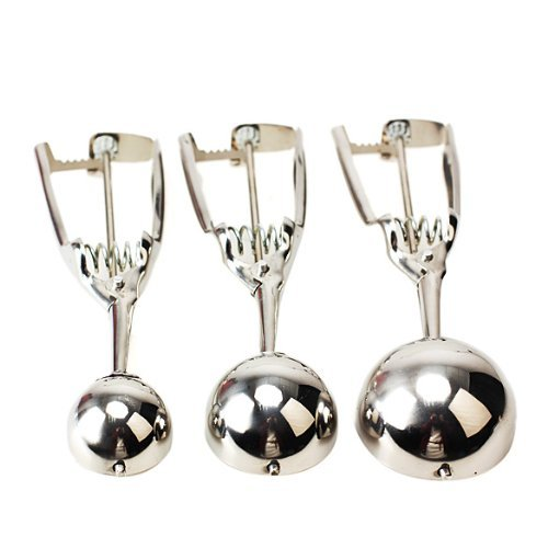 LanLan 3 Pcs Stainless Steel Ice Cream Scoop Spoon Melon Baller Small Middle Large