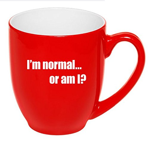 Two Toned Ceramic Mug (16 oz Large Red Bistro Novelty Mug Ceramic Coffee Tea Glass Cup