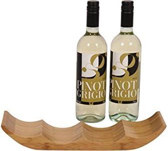 The Depot Bamboo Wine Rack Bottle Storage Holder Display Stand Bar Organiser Home Kitchen Decor - Holds 4 Glass Bottles