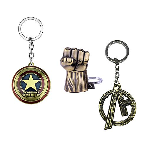 Captain America Shield Pewter, Hulk Fist, The Avengers League, Heros Civil War, Metal Key Chain Pendant Souvenir Gifts for Mens Boys Kids - Pack 3 Pieces (Pack 3 - # 2, Gold-Red, Gold)