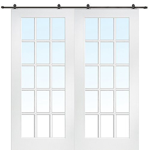 National Door Company Z009628 Primed MDF 15 Lite True Divided Clear Glass 72'' x 80'', Barn Door Unit by National Door Company
