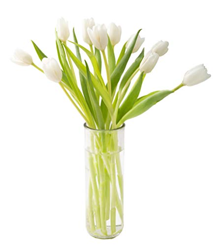 - KaBloom Bouquet of Fresh White Tulips with Vase (Farm-Fresh, Cut-to-Order and Homegrown in the USA)