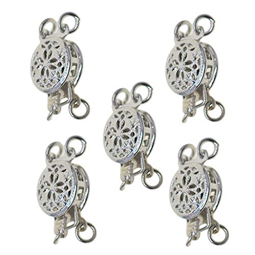SM SunniMix 5 Sets Filigree Box Clasp 2 Strands Round Beads Pinch Push Clasps for Jewelry Making and Crafting Accessories