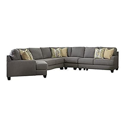 Ashley Furniture Signature Design By Chamberly 5 Piece Sectional Sofa In  Alloy