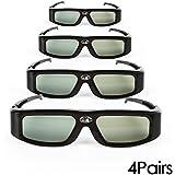 4 Pack of SainSonic GX-30 144Hz Rechargeable 3D Active Shutter Glasses for Universal DLP-Link Ready Projectors, BenQ, Optoma, Dell, Mitsubishi, Samsung, Acer, Vivitek, NEC, Sharp, ViewSonic - Black