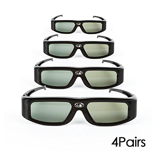 4 Pack of SainSonic GX-30 3D Glasses Active Shutter 144Hz Rechargeable for Universal DLP-Link Ready Projectors, BenQ, Optoma, Dell, Mitsubishi, Samsung, Acer, Vivitek, NEC, Sharp, ViewSonic - Black